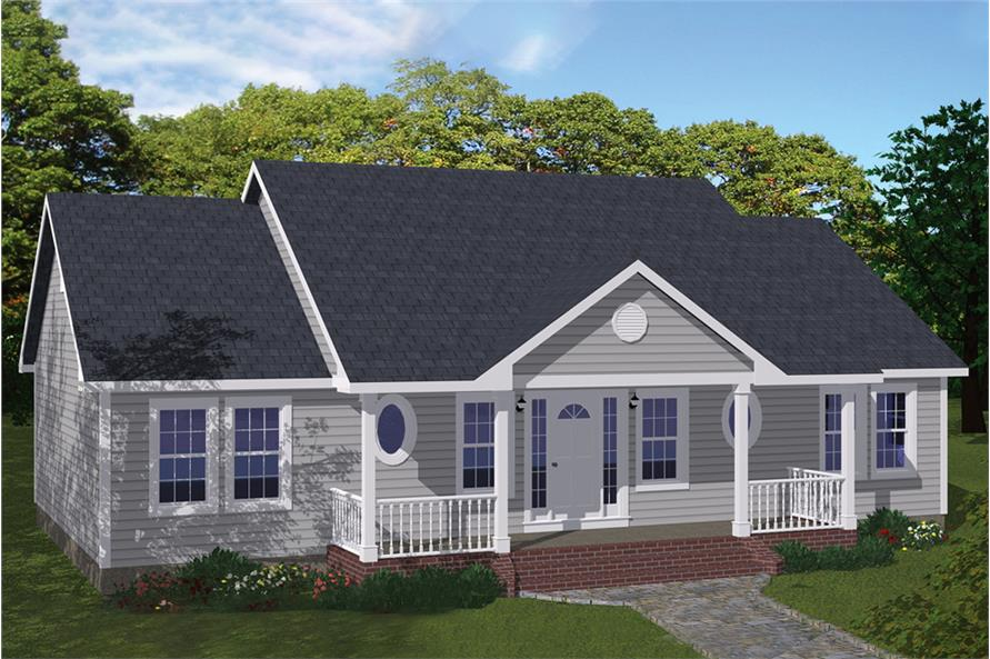Front elevation of Ranch home (ThePlanCollection: House Plan #200-1060)