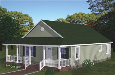 3-Bedroom, 1315 Sq Ft Cottage House Plan - 200-1062 - Front Exterior