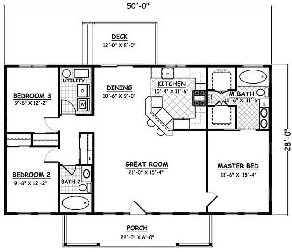 Ranch Home 3 Bedrms 2 Baths 1400 Sq Ft Plan 200 1074