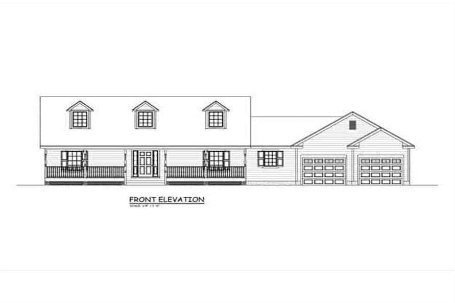Home Plan Front Elevation of this 3-Bedroom,1370 Sq Ft Plan -200-1075