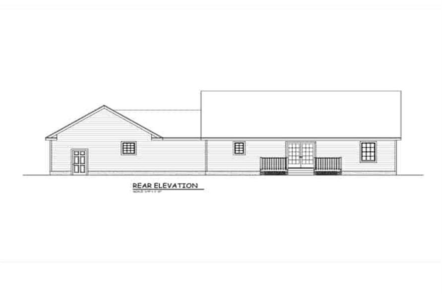 Home Plan Rear Elevation of this 3-Bedroom,1370 Sq Ft Plan -200-1075