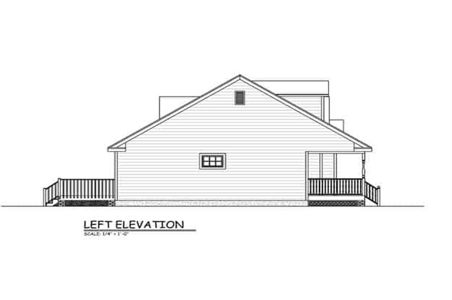 Home Plan Left Elevation of this 3-Bedroom,1370 Sq Ft Plan -200-1075