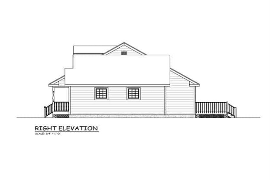 Home Plan Right Elevation of this 3-Bedroom,1370 Sq Ft Plan -200-1075