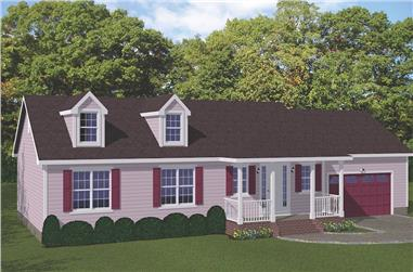 3-Bedroom, 1593 Sq Ft Ranch House Plan - 200-1082 - Front Exterior