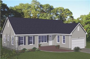 3-Bedroom, 1614 Sq Ft Ranch House - Plan #200-1084 - Front Exterior
