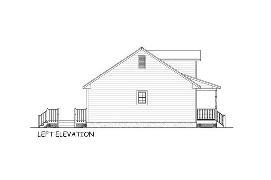 Home Plan Left Elevation of this 3-Bedroom,1538 Sq Ft Plan -200-1087