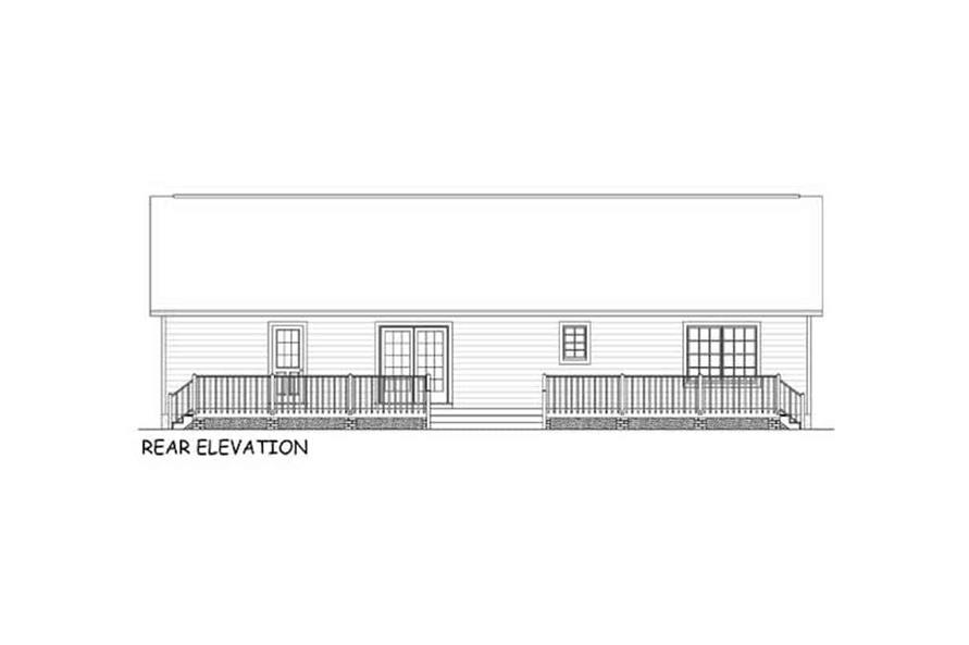 Home Plan Rear Elevation of this 3-Bedroom,1538 Sq Ft Plan -200-1087