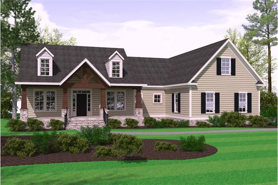 3-Bedroom, 2509 Sq Ft Farmhouse Home Plan - 201-1000 - Main Exterior