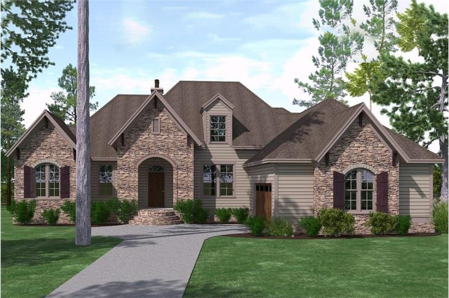 3-Bedroom, 2488 Sq Ft Rustic House Plan - 201-1003 - Front Exterior