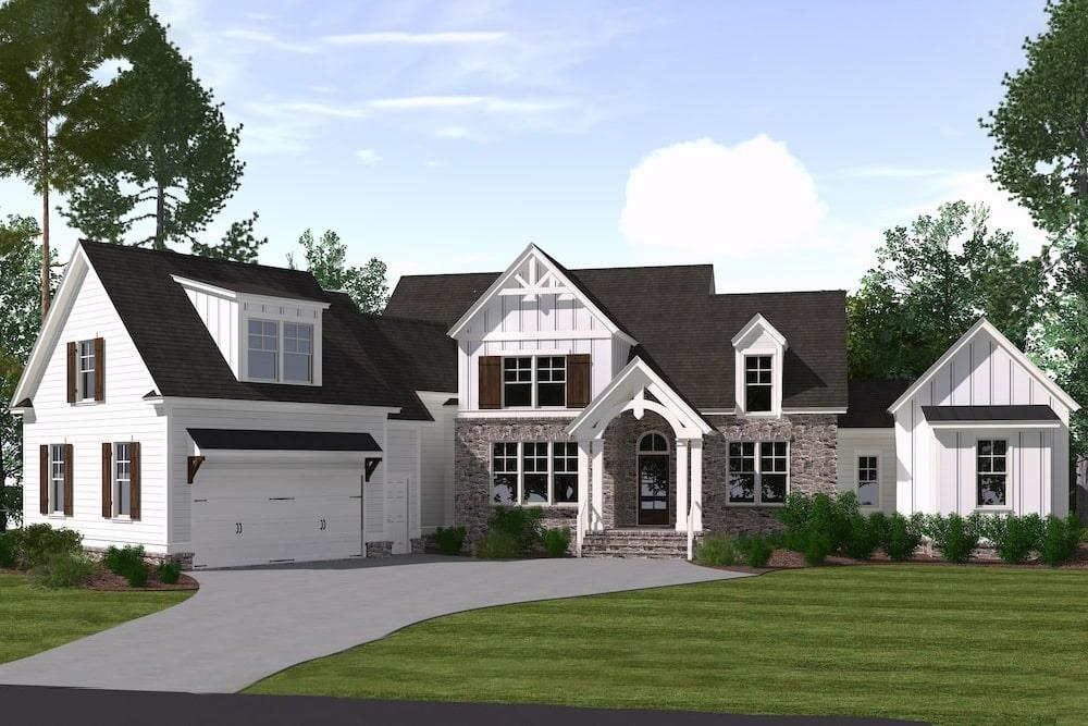 Front elevation of Farmhouse home (ThePlanCollection: House Plan #201-1007)