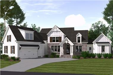 4-Bedroom, 3107 Sq Ft Farmhouse Home Plan - 201-1007 - Main Exterior