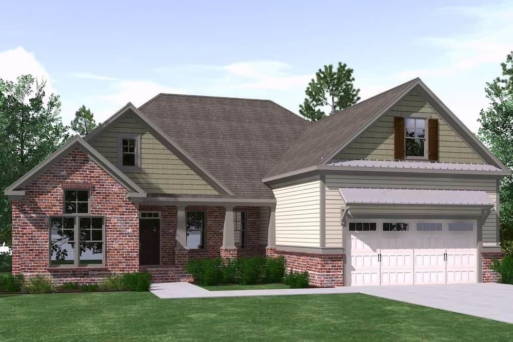 Front elevation of Farmhouse home (ThePlanCollection: House Plan #201-1011)