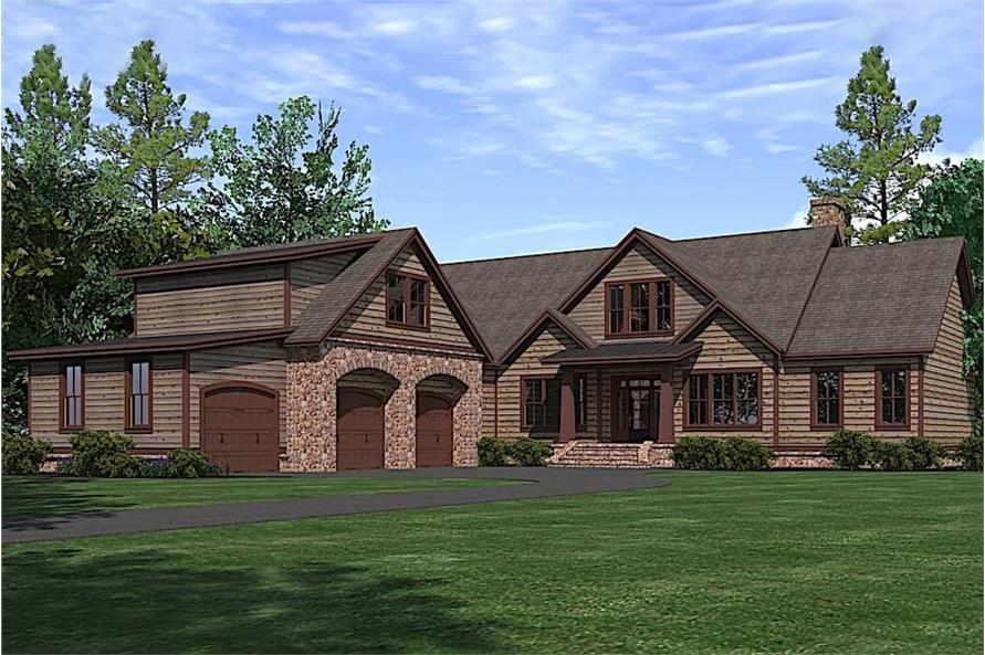 3-Bedroom, 3742 Sq Ft Rustic House Plan - 201-1016 - Front Exterior