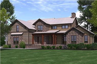 4-Bedroom, 3323 Sq Ft Rustic House Plan - 201-1020 - Front Exterior