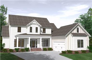 5-Bedroom, 3820 Sq Ft Farmhouse House Plan - 201-1021 - Front Exterior