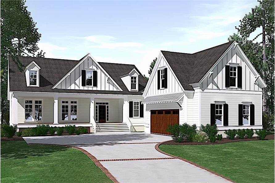 3-Bedroom, 3425 Sq Ft Farmhouse Home Plan - 201-1022 - Main Exterior