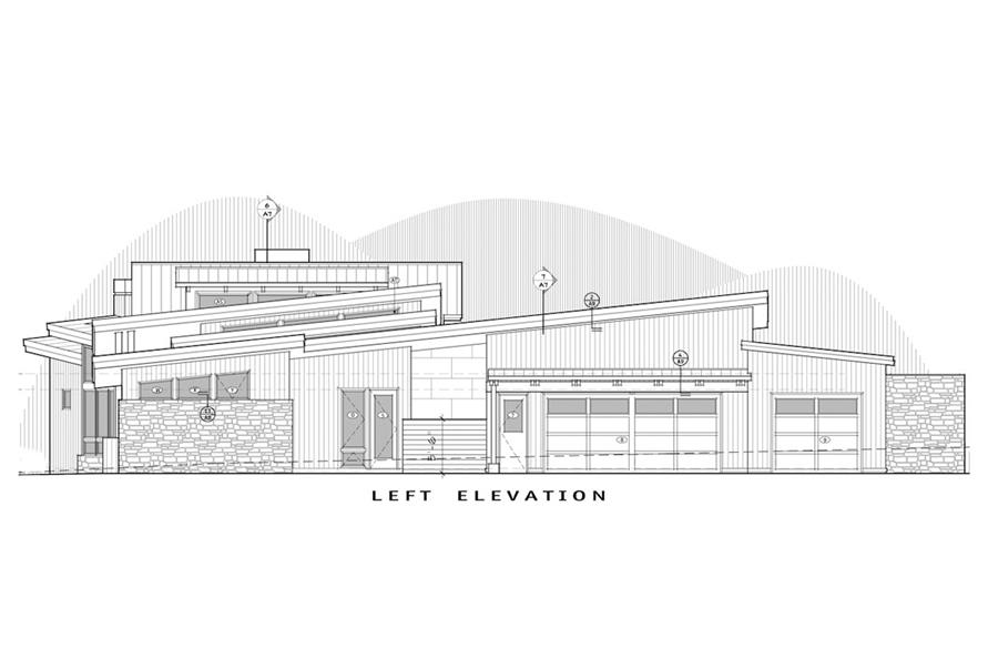 Home Plan Left Elevation of this 3-Bedroom,4036 Sq Ft Plan -202-1001