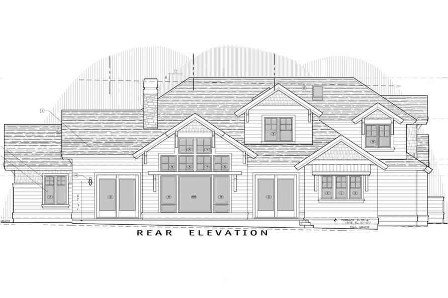 Home Plan Rear Elevation of this 3-Bedroom,3959 Sq Ft Plan -202-1002