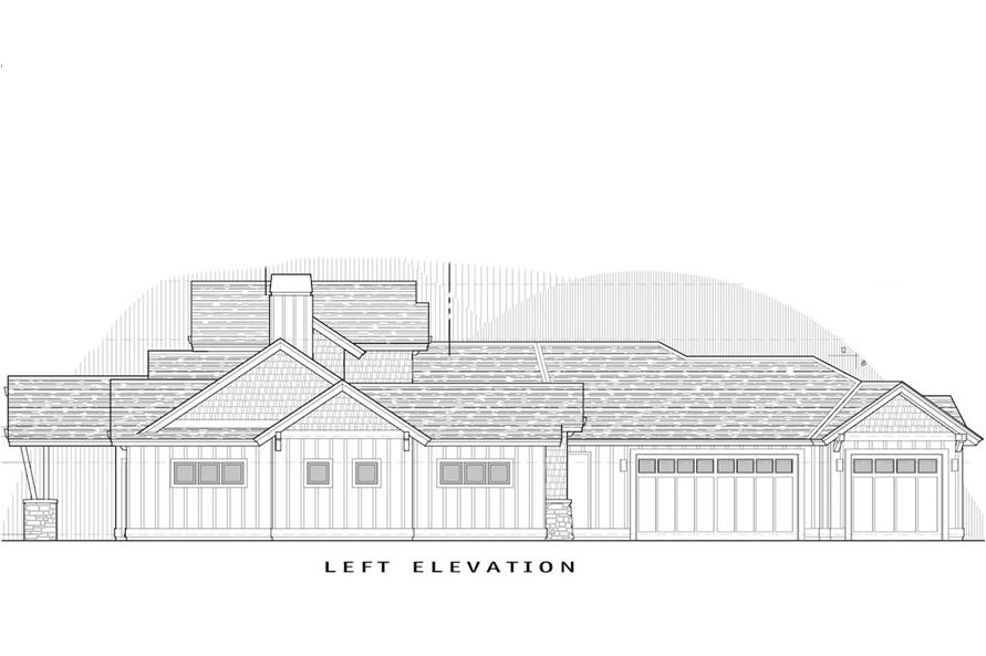 Home Plan Left Elevation of this 3-Bedroom,2536 Sq Ft Plan -202-1003