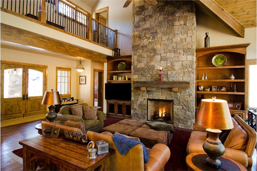 Great Room: Fireplace of this 4-Bedroom,4268 Sq Ft Plan -202-1006