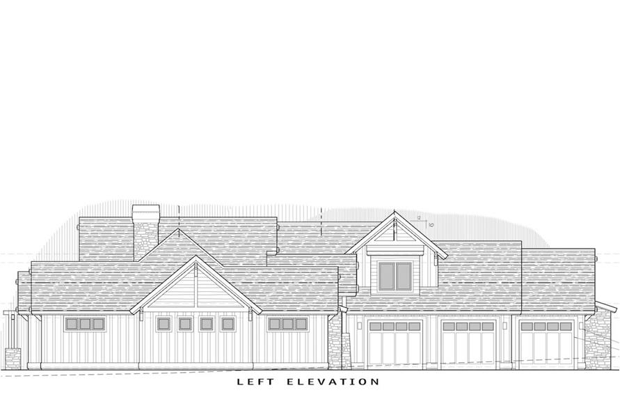 Home Plan Left Elevation of this 4-Bedroom,3691 Sq Ft Plan -202-1007