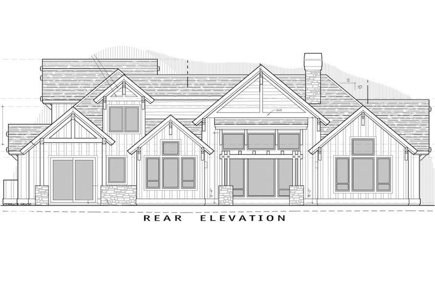 Home Plan Rear Elevation of this 4-Bedroom,3691 Sq Ft Plan -202-1007