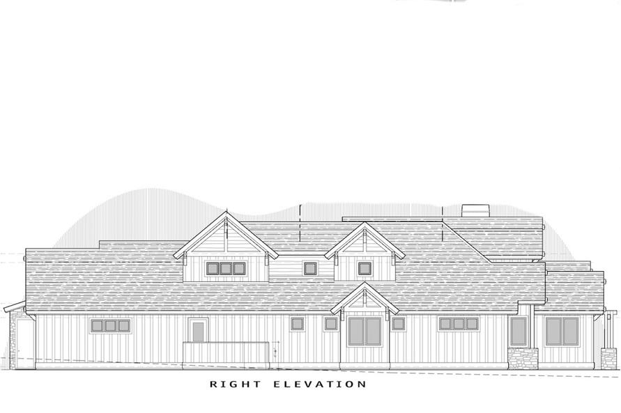 Home Plan Right Elevation of this 4-Bedroom,3691 Sq Ft Plan -202-1007