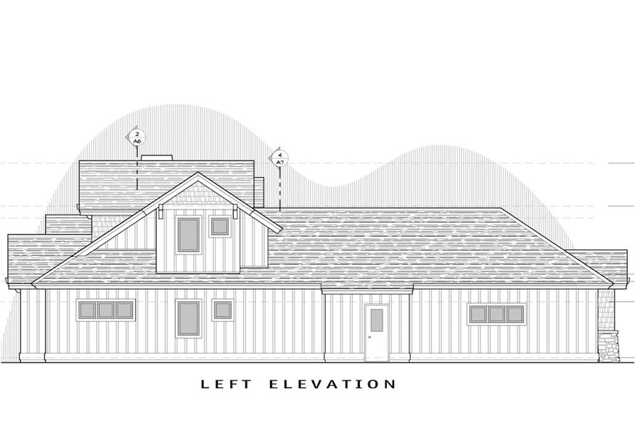 Home Plan Left Elevation of this 3-Bedroom,2360 Sq Ft Plan -202-1008