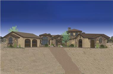 3-Bedroom, 3579 Sq Ft Mediterranean Home Plan - 202-1009 - Main Exterior