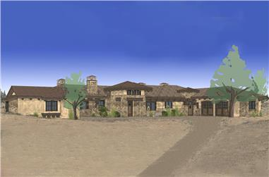 3-Bedroom, 3574 Sq Ft Mediterranean House Plan - 202-1010 - Front Exterior