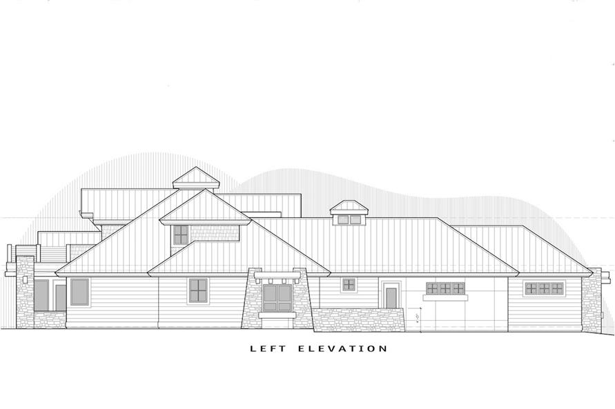 Home Plan Left Elevation of this 4-Bedroom,3513 Sq Ft Plan -202-1012