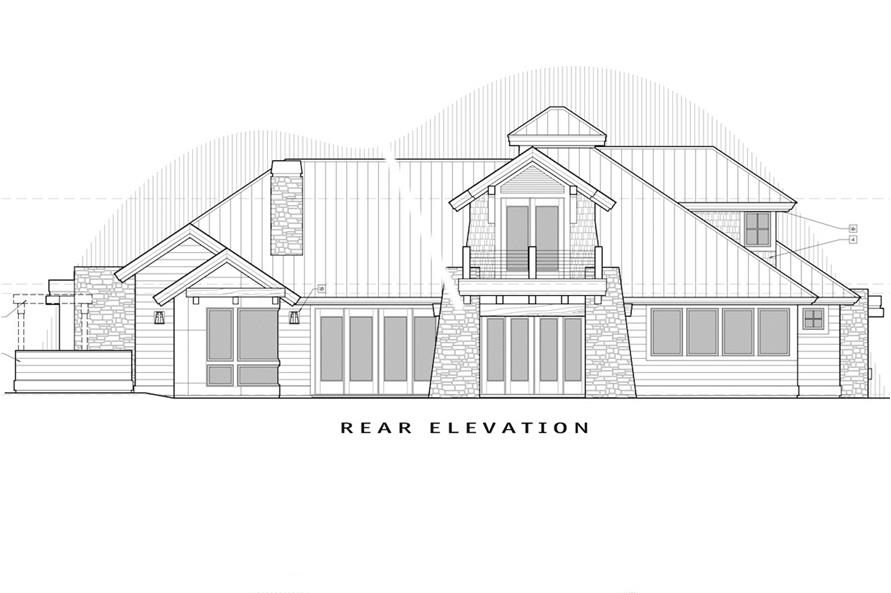 Home Plan Rear Elevation of this 4-Bedroom,3513 Sq Ft Plan -202-1012