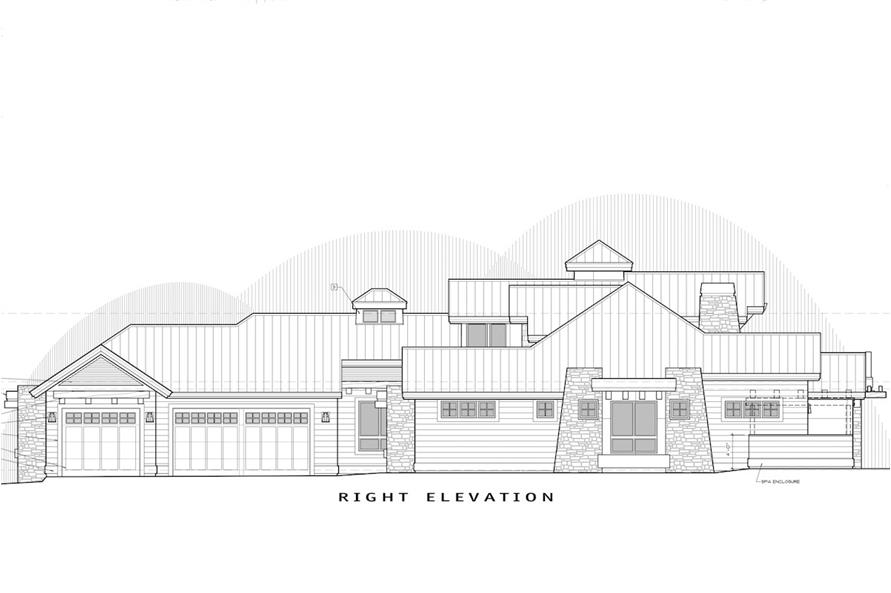 Home Plan Right Elevation of this 4-Bedroom,3513 Sq Ft Plan -202-1012