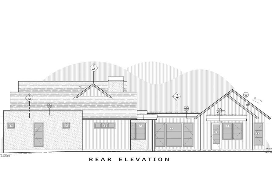 Home Plan Rear Elevation of this 3-Bedroom,3832 Sq Ft Plan -202-1014
