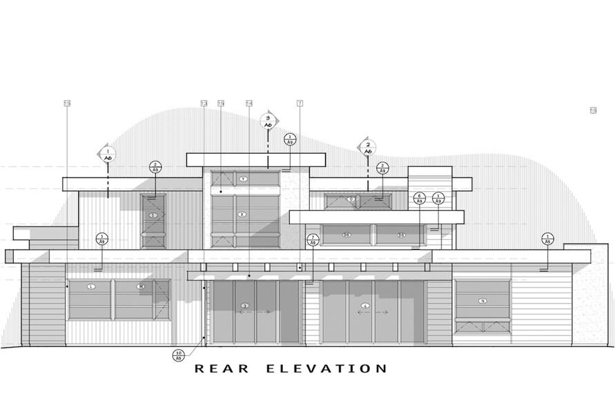 Home Plan Rear Elevation of this 4-Bedroom,3712 Sq Ft Plan -202-1015