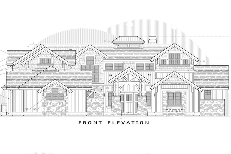Home Plan Front Elevation of this 5-Bedroom,4964 Sq Ft Plan -202-1016