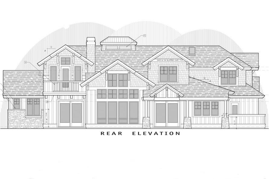 Home Plan Rear Elevation of this 5-Bedroom,4964 Sq Ft Plan -202-1016