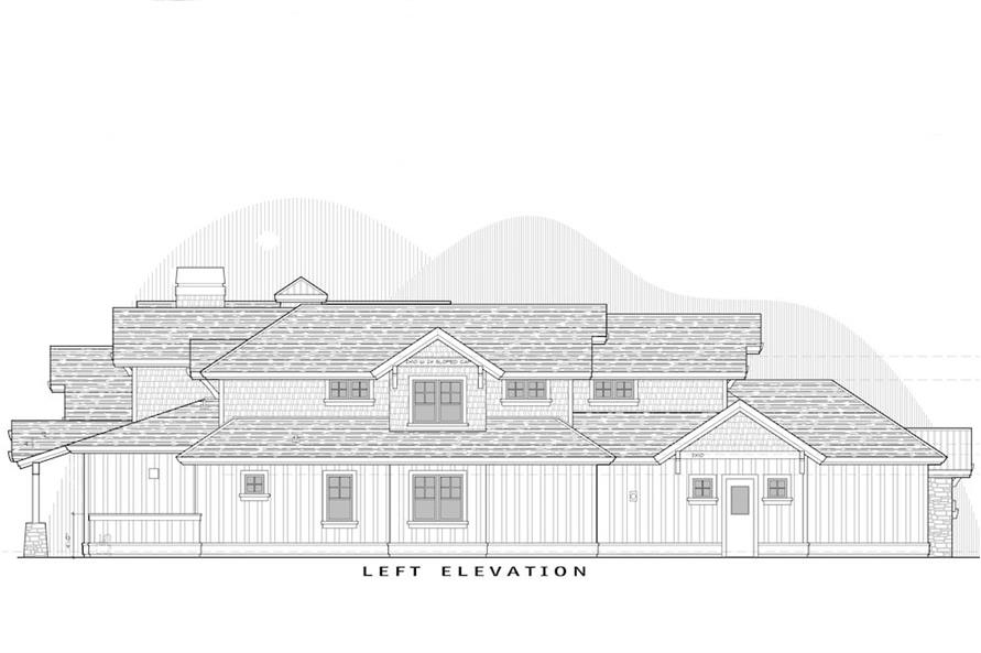 Home Plan Left Elevation of this 5-Bedroom,4964 Sq Ft Plan -202-1016
