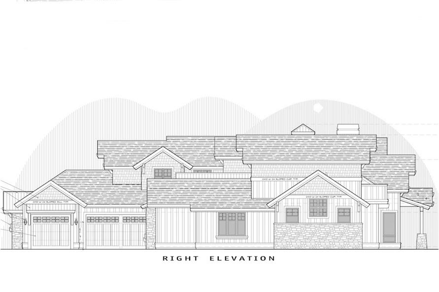 Home Plan Right Elevation of this 5-Bedroom,4964 Sq Ft Plan -202-1016