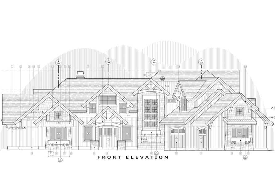 Home Plan Front Elevation of this 5-Bedroom,4412 Sq Ft Plan -202-1017