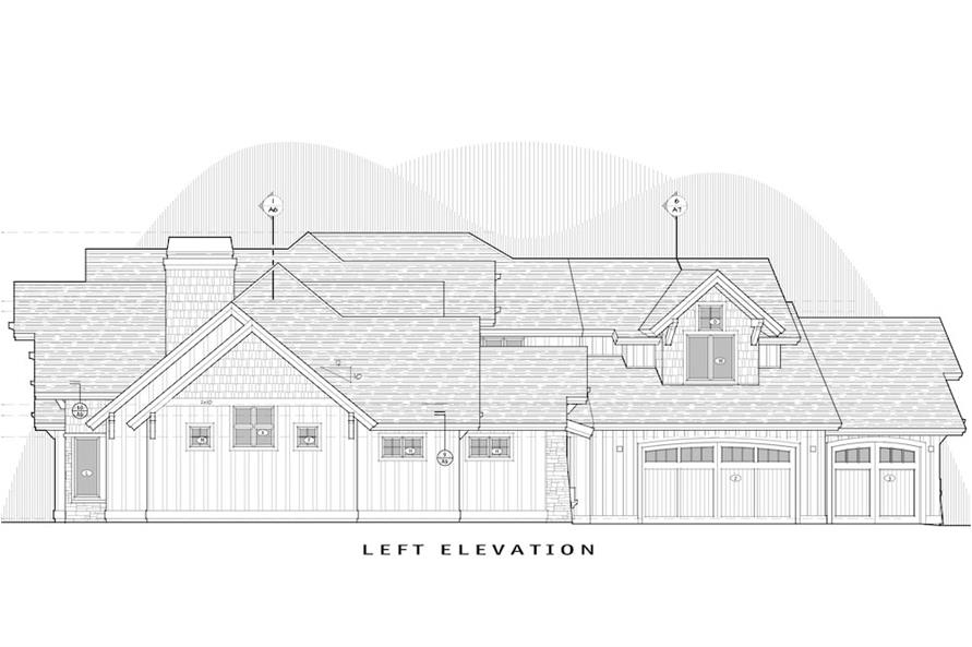 Home Plan Left Elevation of this 5-Bedroom,4412 Sq Ft Plan -202-1017