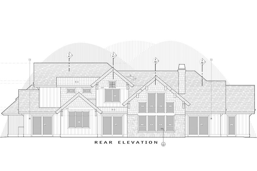 Home Plan Rear Elevation of this 5-Bedroom,4412 Sq Ft Plan -202-1017