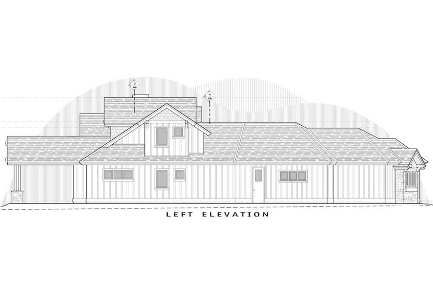 Home Plan Left Elevation of this 3-Bedroom,2554 Sq Ft Plan -202-1018