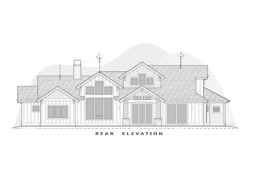Home Plan Rear Elevation of this 3-Bedroom,2554 Sq Ft Plan -202-1018
