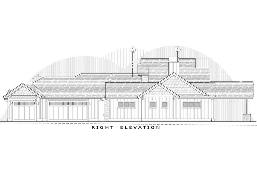 Home Plan Right Elevation of this 3-Bedroom,2554 Sq Ft Plan -202-1018