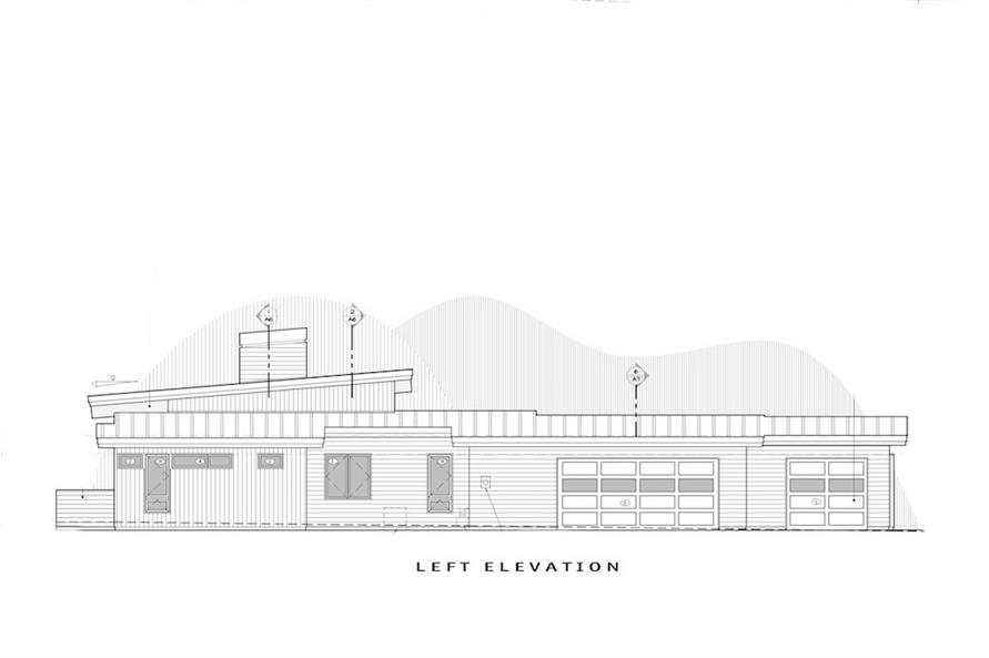 Home Plan Left Elevation of this 3-Bedroom,3338 Sq Ft Plan -202-1025
