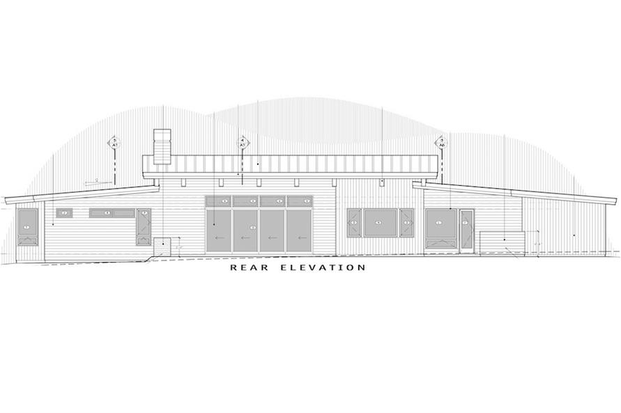 Home Plan Rear Elevation of this 3-Bedroom,3338 Sq Ft Plan -202-1025