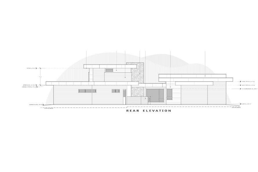Home Plan Rear Elevation of this 4-Bedroom,3837 Sq Ft Plan -202-1031