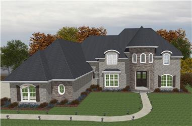 5-Bedroom, 5009 Sq Ft European House Plan - 203-1002 - Front Exterior