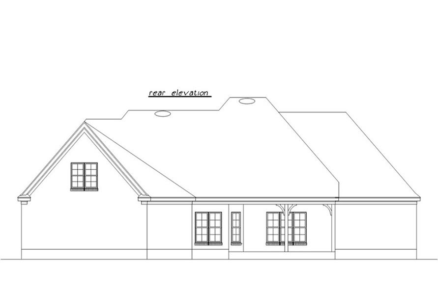 Home Plan Rear Elevation of this 3-Bedroom,3230 Sq Ft Plan -203-1007